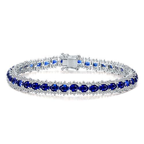 Bracelet Femme Mariage Or blanc 18 carats Saphir*0.24ct Bleu Diamant Cadeau Noël