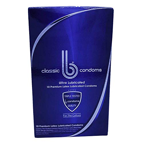 B CONDOMS Classic – Best Premium FIT Thin Ultra Lubricated Latex Condom for Men Wanting HIGH Quality Performance – Non-Toxic ODORLESS Condom for Men