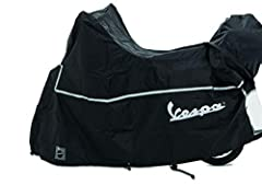 OEM Piaggio Vespa Scooter Cover Vespa logo on side of cover Made from high quality polyester Protects against sun, rain, snow and wind water-resistant UV stabilized Fits with Top Case and all type of windshield (high/low) up to 25.5 in (650mm) Cover ...