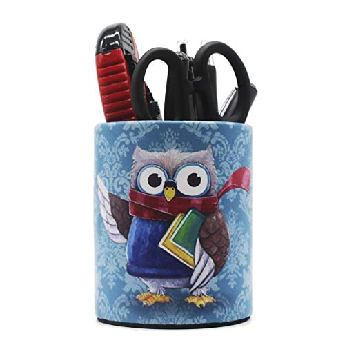 Owl Pen Holder for Desk Organizer, Cute Pencil Holder Decorative Pen Cups for Kids School Gift (Blue #1)