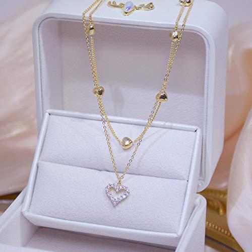 mengnuo Collar de corazón de Doble Capa de Oro Real de 14 k, Brillante circón Brillante para Mujer, Cadena de clavícula, Elegante Colgante de Boda, joyería