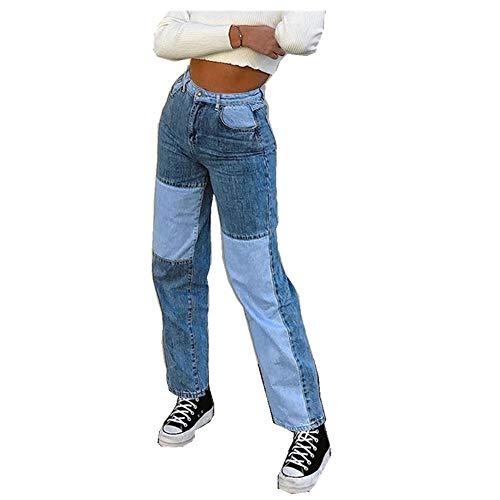 INLLADDY Damen Denim Hosen Sporthose Casual Farbblock Jogger Street Hose Baggy Hip Hop Streetwear Frauen Jeans Blau M