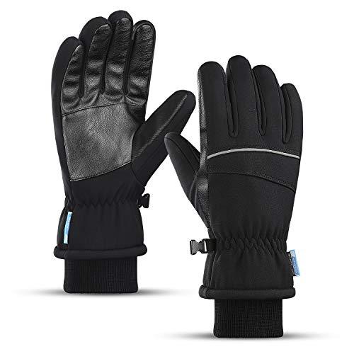 LIANG\'S CO. Winter Fahrradhandschuhe Warm Handschuhe -20℃ Wasserdicht Touchscreen Handschuhe Winddichte Thermo Handschuhe rutschfeste Laufhandschuhe für Männer Frauen zum Outdoor Sports (Schwarz, L)