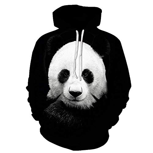 yyqx container Pulls Hoodies d'impression 3D Mignon Panda Noir Outdoor Couples Sweatshirts avec Kangaroo Pocket-Color_5XL