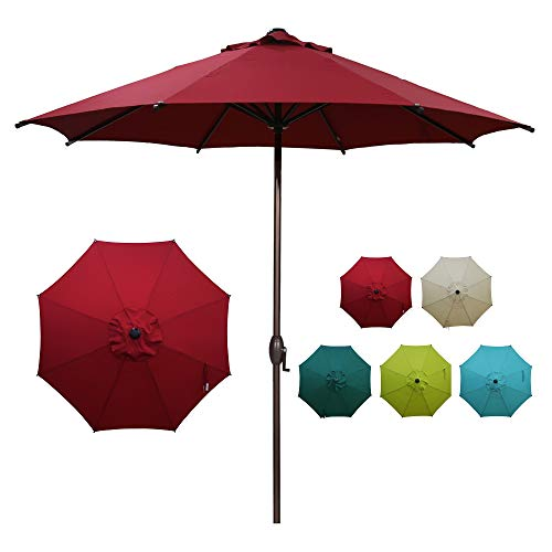 Abba Patio 9ft Patio Umbrella Outdoor Market Table Umbrella with Push Button Tilt and Crank for Garden, Lawn, Deck, Backyard & Pool, 8 Sturdy Steel Ribs,...
