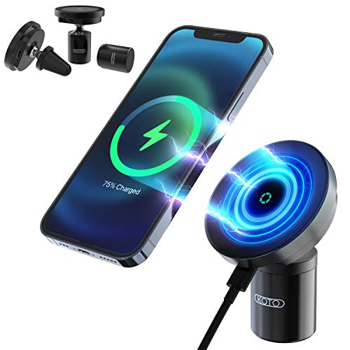 KOTO Aluminum Magnetic Wireless Car Charger, Compatible with iPhone Mini/12/12 Pro/Pro Max/Magsafe Case, 15W Fast Charging Car Mount Stand with Secure Air Vent Clamp (Black)