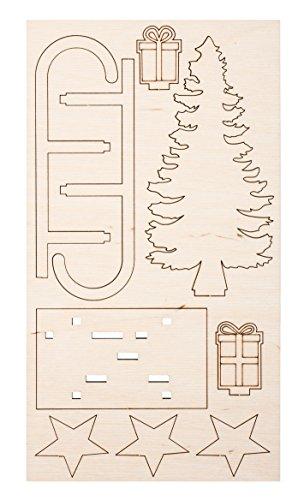 Rayher 46318000 Bouwpakket houten Slee met vergrendelingsonderdelen, Hout Bouwpakket, 9 slot-together Stuces, 11x16.5cm