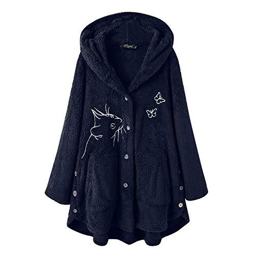 Janly Clearance Sale Abrigo para mujer, mujer, estampado de botones de felpa con capucha, chaqueta de lana, chaqueta de invierno, túnica de franela para otoño invierno (azul marino-XXL)