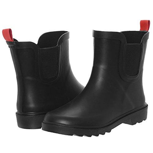 Capelli New York Boys Matte Solid Rubber Rain Boot Black 12/13