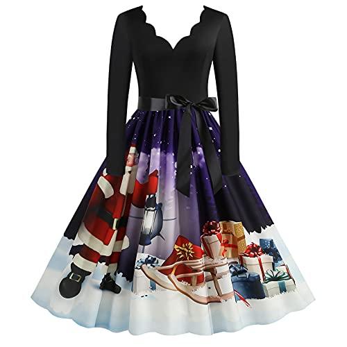 Vintage A-line Midi Party Dress Women Casual Dresses Swing Tea Dress Cocktail Prom Dress Christmas Long Sleeve V Neck Black