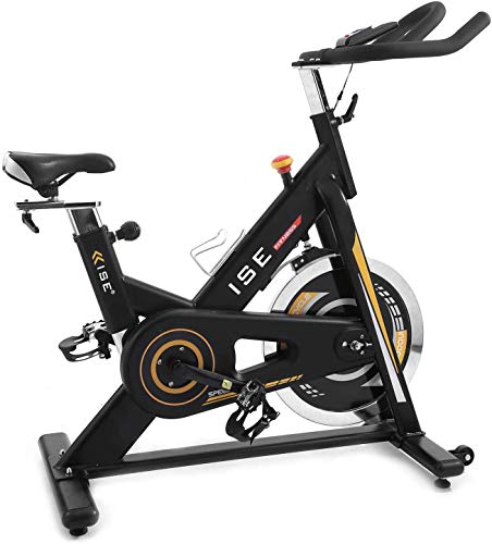 ISE Cyclette Cardio Bicicletta Indoor con Volano 15 KG, Maniglie e Sedile Regolabili, Ciclismo Super Silenzioso con Schermo e Supporto Cellulare, Max 120 Kg, SY-7910