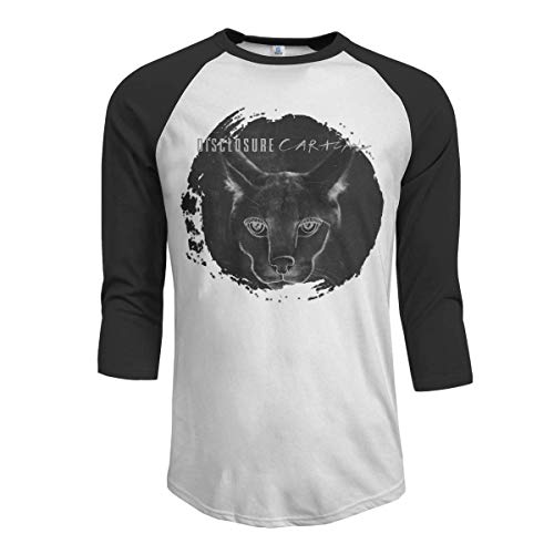 Pimkly Herren Tee T-Shirt, Men's Disclosure Caracal 3/4 Sleeve Raglan Baseball T Shirt Black