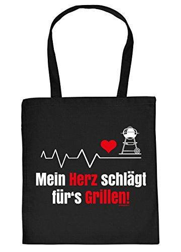 Griller Tasche Grillzubehör Tragetasche Grill : Mein Herz schlägt fürs Grillen - Sprüche Baumwolltasche Grillen -Farbe: schwarz