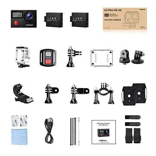 CamparkX20アクションカメラネイティブ4KウルトラHD20MPEIS安定タッチスクリーンリモコン防水カメラ40Mバッテリー2個とプロフェッショナルアクセサリー