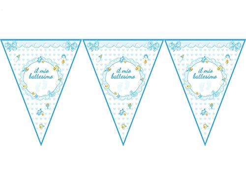 Magic Party Guirnalda de banderines de Mi Bautizo de Color Azul, 3,60 m