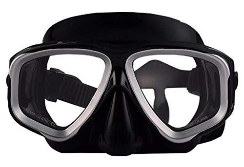 WOWDECOR Schnorchelmaske Taucherbrille Dioptrin Dioptrien Korrektur, Tauchmaske für Erwachsene und Kinder mit Kurzsichtigkeit Kurzsichtig (Silberne Grenze, -3,0)