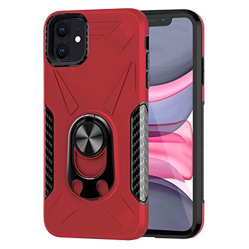 Ailisi iPhone 11 Hülle, Premium Tough Armor Stoßfest Handyhülle 2 in 1 Schutzhülle Bumper Cover mit Ringhalter Stand [Für Magnetische Autohalterung] [Flaschenöffner Funktion] -Rot