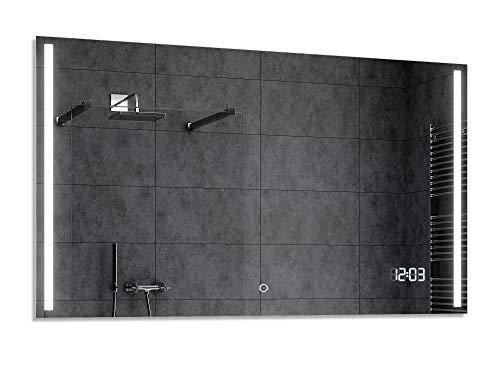 Alasta® Moderne en Verlichte Badkamerspiegel - 140x70 cm - Model París - Spiegel met Aanraaklichtschakelaar en LED Klok