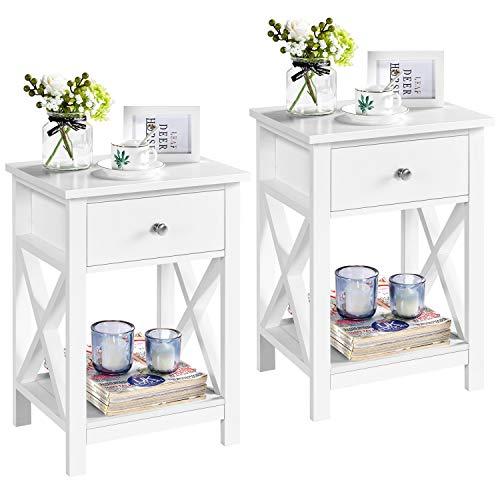 Yaheetech Set de 2 Piezas Mesa Auxiliar Mesita de Noche Blanca con Cajón 40 x 30 x 55 cm para Sofá Dormitorio Sala de Estar