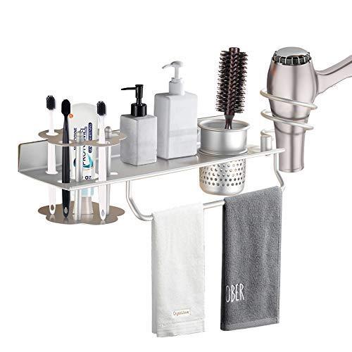 Angeer Zahnbürstenhalter Wandhalterung Aluminium Badezimmer Regal Multifunktional Fönhalter ohne Bohren Badzubehör Handtuchhalter mit Cup