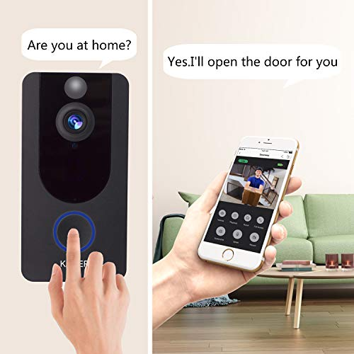 Wireless Video Doorbell Camera 1080P Smart Home Security System with Real Time Push Alerts Night Vision Weather Resistant Free Cloud Storage Visual Recording Security Door Bell(Batteries Included)