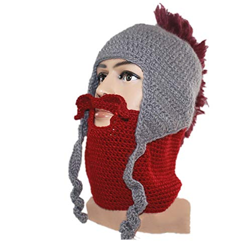 SCYTSD Unisex Beard Beanie Outdoor Hat Cap with Beard Wind Guard Roman Knight Helmet Cap Halloween Cock Hat Maske