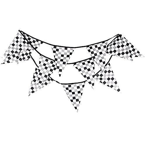 Tablero de carreras Banderines , accesorios de la casa de verano Photo Prop para jardín boda boda baby shower fiesta de cumpleaños decoración 11.8 pies-Blanco negro