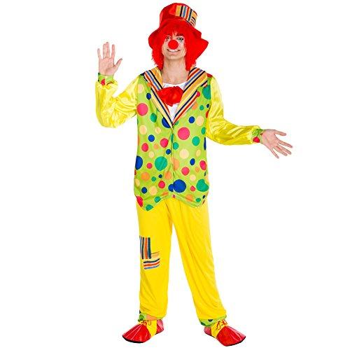 TecTake dressforfun Herrenkostüm Clown | Kostüm + Clown-Nase & Schlapphut | Harlekin Clown-Kostüm Fasching (XXL | Nr. 300837)