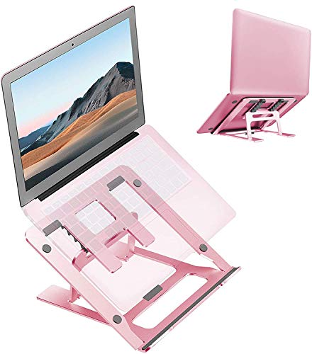 Ditucu Metal Laptop Stand for Desk,Foldable Portable Small Computer Table Tray Mount,Ergonomic Non-Slip Notebook Shelf for Office Home School Classroom Bed Supplies,Workspace Accessories(Rose Gold)