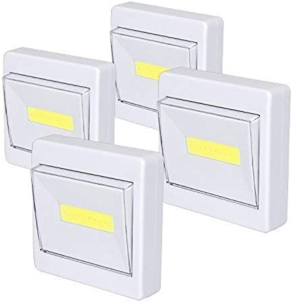 Closet Light Super Bright Battery Operated Stick Anywhere 200 LM Cob Led Light Switch Nightlight Tap Lights For Closet Shed Attic Emergency 4 Pack
