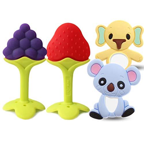 O³ Massaggia Gengive per Neonati - Dentizione Neonati Refrigeranti - Dentarulo | Senza BPA | Set 4 giocattoli: 2 animali + 2 frutti (Bambino)