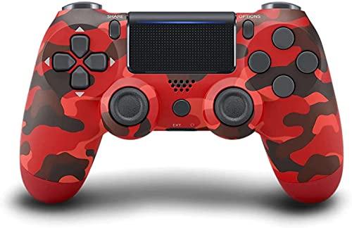 JORREP Controller per PS4, Wireless Controller per Playstation 4/Pro/3/Slim/ PC, Wireless Gamepad Joystick con Shock a Doppia Vibrazione a Sei Sssi e Jack Audio Mini LED(Red)