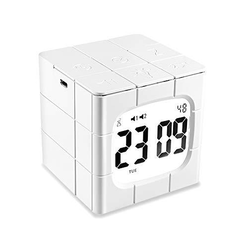 ZOTO Digitaler Wecker, LED Cube Kinderwecker mit 2 Alarmen/Snooze/Countdown, 2000mAh Batterie/Lustige Rotationseinstellung, Helligkeit und Lautstärke Regelbar Reisewecker