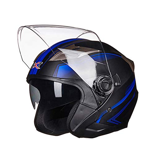 CARACHOME Casco Moto Integral con Múltiples Respiraderos, Casco Patinete Gafas De Sol Incorporadas, Casco Moto Unisex con Gafas Dobles,Casco Jet Moto Homologado Dot Y ECE,D,XL