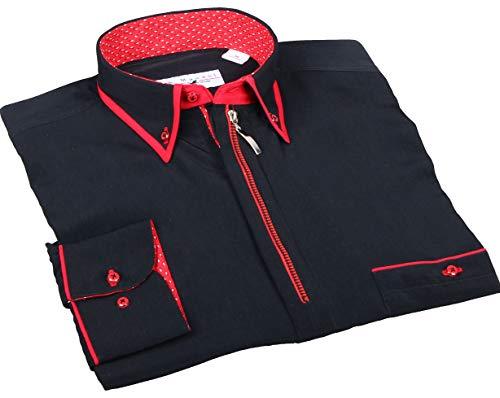 Hemd mit Reißverschluss in Schwarz, H.K. Mandel Ausgefallenes Mikrofaserhemd, Normal Nicht Tailliert Größe M