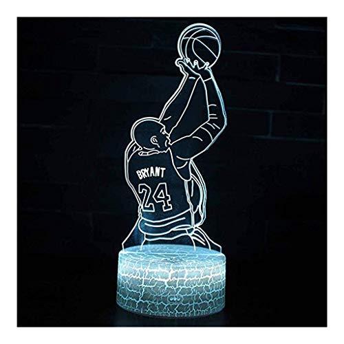 ZDVHM 3D Lámpara ilusión Noche de luz 3D Jugador de Baloncesto Kobe Bryant Jersey ilusión Tacto Ligero de Color de la luz 7 niños Cambio de Dormitorio USB Juguetes Decorativos