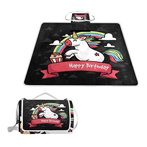 LORONA verjaardagskaart met handgetekende eenhoorn outdoor picknick deken extra groot zand bewijs en beste waterdichte draagbare strand mat voor camping wandelen festivals