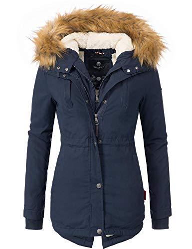 Marikoo Damen Mantel Wintermantel Winterparka Akira Blau Gr. L