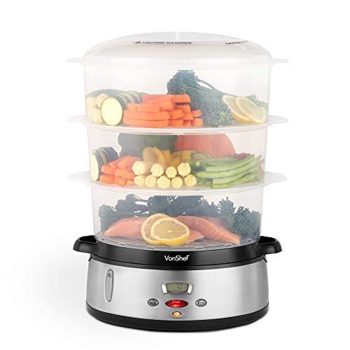 VonShef Dampfgarer 800W Digital 60-Minuten Timer mit 3 Behältern – Zur gesunden Zubereitung von Fisch, Fleisch, Gemüse – BPA-frei – Inklusive Reisschale