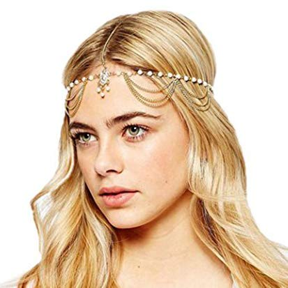 Jovono Boho Headchain Gold Tassel Hair Accessories Rhinestone Hair Chain for women and girls