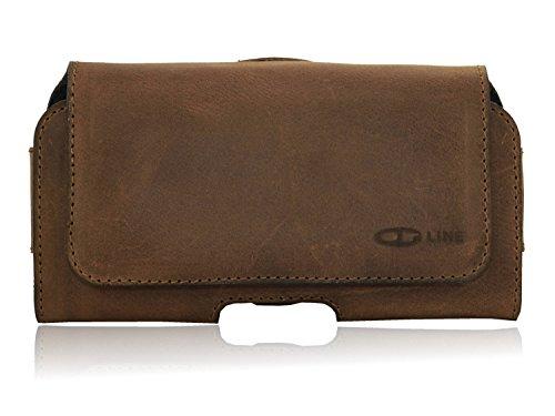 OrLine Real Funda de Piel para Samsung Galaxy J32016con Cierre magnético Soporte al cinturón con Pinza y trabilla Case Funda Móvil Real Ledertasche Funda Horizontal de Color marrón Mano
