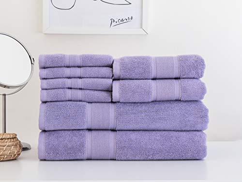 LUZIA 8 Piece Towel Set - 100% Turkish Cotton, Premium Quality - 2 Bath Towels 2 Hand Towels and 4 Washcloths (Lavender)