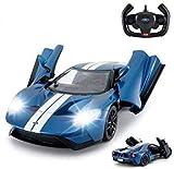 RASTAR Coche RC   1/14 Ford GT Control remoto RC Race Toy Car para niños, puertas abiertas por manual, azul (27MHz)