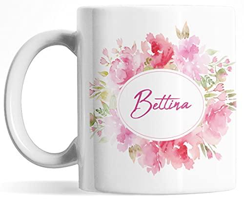 Tasse personalisiert mit Namen, Namenstasse, persönliche Geschenke Kaffee-Tasse mit Namen, weiß Keramik-Tasse mit Blumen