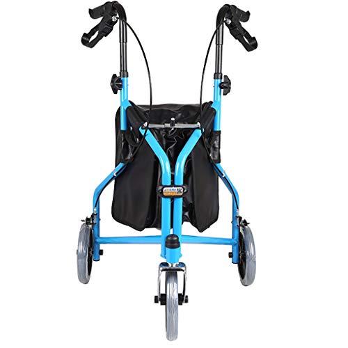 Andador plegable Tri Walker de 3 ruedas plegable, aluminio azul, liviano, bolsa de mano y frenos con llave, ayuda para movilidad cómoda y fácil de maniobrar para usuarios mayores y discapacitados