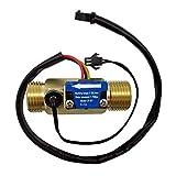 DIGITEN G1/2' Male Thread Brass Water Flow Sensor, Hall Effect Sensor Switch Flow Meter Flowmeter Counter with Temperature Sensor 1-25L/min