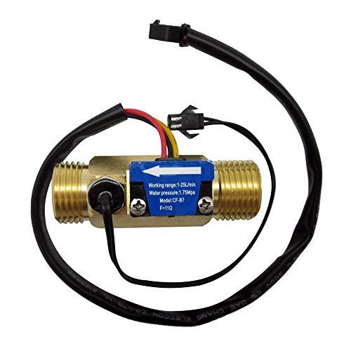 "DIGITEN G1/2"" Male Thread Brass Water Flow Sensor, Hall Effect Sensor Switch Flow Meter Flowmeter Counter with Temperature Sensor 1-25L/min"