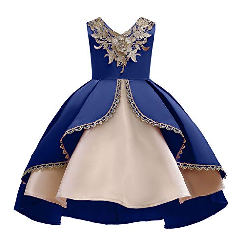 ASHOP - Vestido de Bautismo de Encaje para niña o bebé, Vestido de Fiesta Bordado, Princesa, Vestido de Baile de Boda, Ceremonia, Flor Decorada, Vestido de Novia de Fiesta de cumpleaños Azul 120 cm