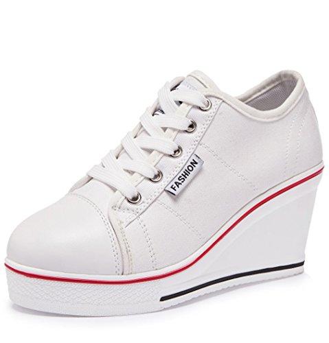 Solshine Damen Canvas Schnürer Wedge Sneakers Hoher Absatz Plateau Keilabsatz Freizeitschuhe Größe 35-43