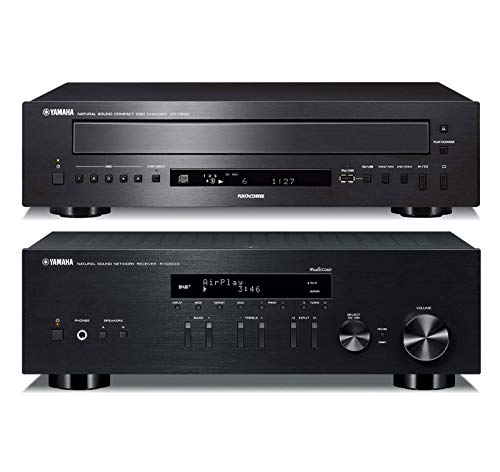 Yamaha CD-C600BL 5-Disc CD Changer Bundle with Yamaha R-N303BL Bluetooth Enabled Smart Stereo Receiver - Black